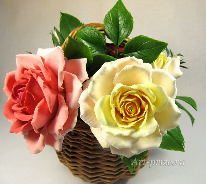 """Мастерская авторских подарков """"Арт прайз"""" - Корзина роз - подарки ручной работы из полимерной глины"""
